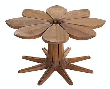 Loves me Loves me Not table in african iroko wood set of 8 by john vogel available in europe france spain portugal by mimic collection of african designs art and collectible luxury furniture