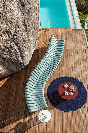 Outoor sofa curved form aluminium and sunbrella upholstery fabric