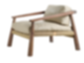 African iroko and beige leather occasional chair with canvas crosshatch cord weave by vogel