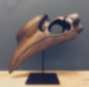 Handcarved african hornbill in ash wood with gunsmoke oil by john vogel available in spain france and portugal through mimic 2020 collection of african designs
