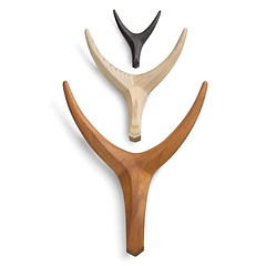 small, medium and large nguni horn wall hanging in iroko or ash with stain by john vogel available in spain france and portugal through mimic 2020 collection of african designs