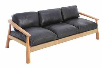 Magnet 3 seater Sofa in afiroko wood with leather uphostery and canvas crosshatch cord weave by john vogel in europe france spain portugal by mimic collection of african designs