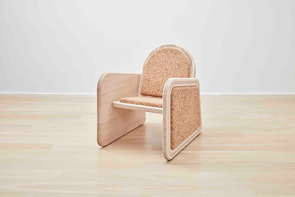 Contemporary African Ocassional Chair from Maple wood and cork Spain France Belgium