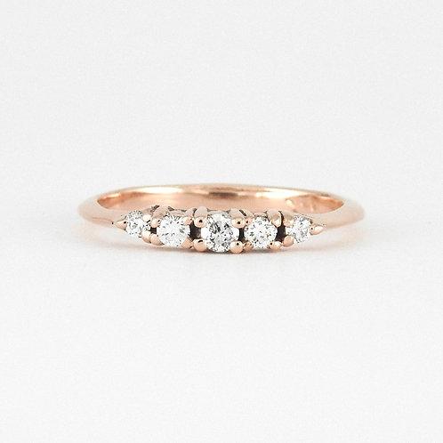 Dainty 5 diamond ring