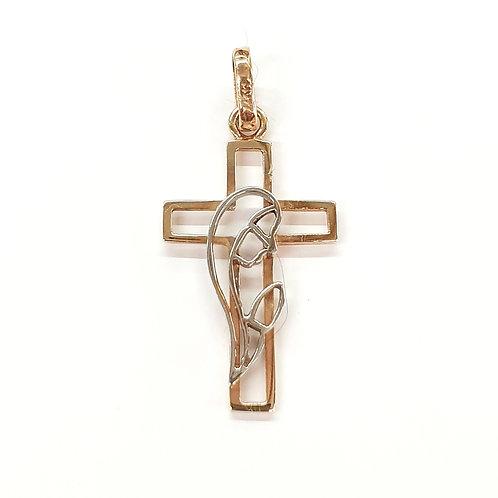 Cruz con Virgen Oro combinado