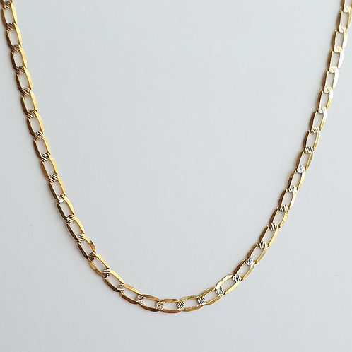 Cadena eslabón oval plancahada diamantada