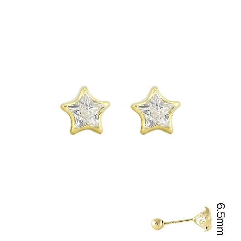 Estrella con bisel Circonia broquel arete de niña 14k