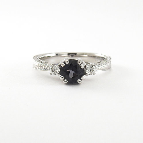 Unique Vintage spinel ring with diamonds