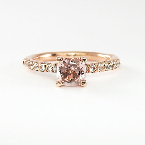 Lotus ring with morganite and rose gold