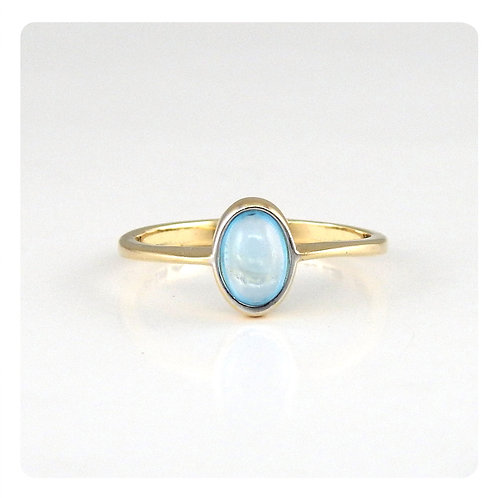 Single stone -Topacio azul en oro amarillo 14k