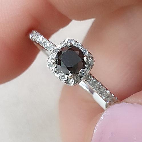 Black diamond with halo