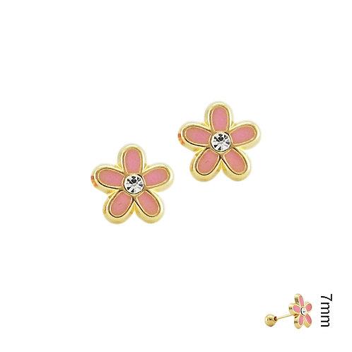 Broquel Flor esmaltada rosa 10k