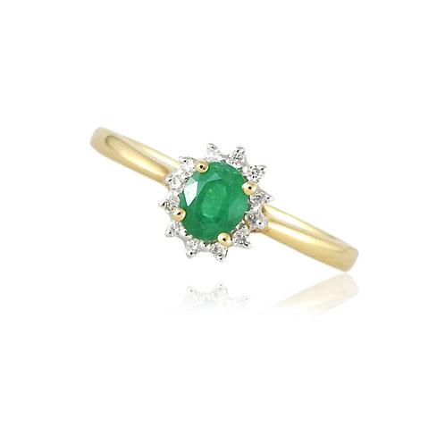 Esmeralda con halo de diamantes