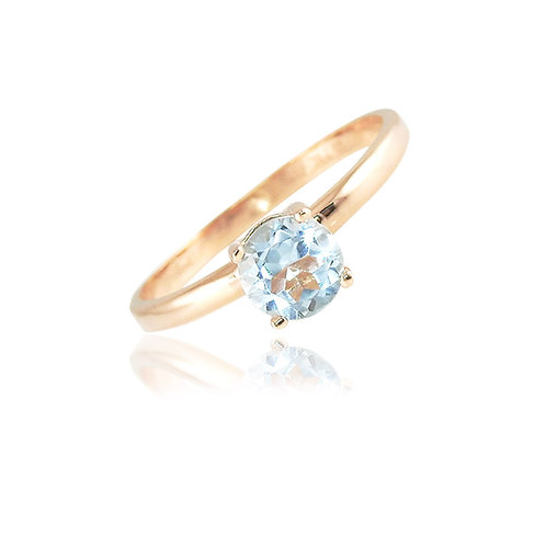Single stone -Topacio azul en oro rosa 14k