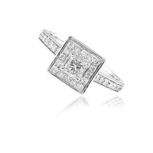 Halo princess diamond ring 0.60qts