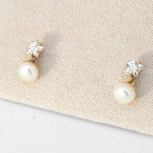 Estrella cz perla colgante