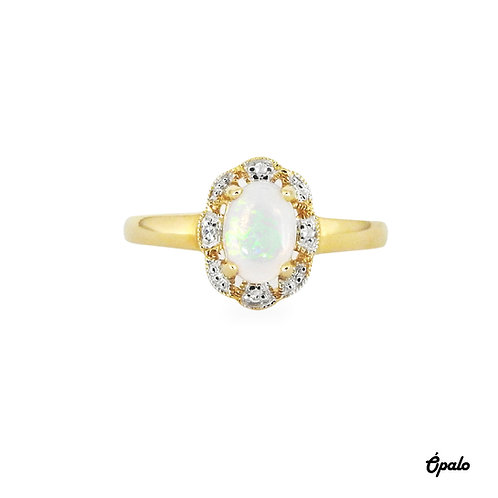 Gemstone ring - Ópalo con diamantes