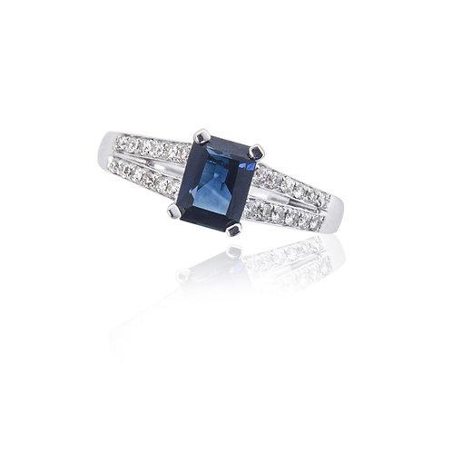 Safiro corte esmeralda con diamantes