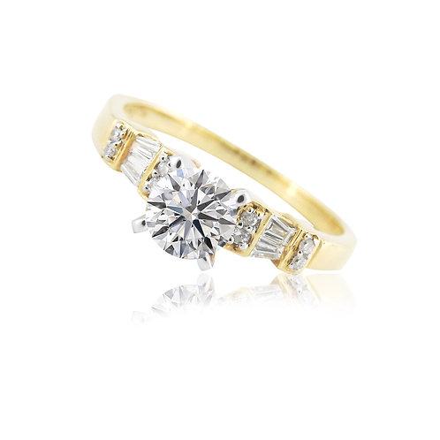 Montadura oro amarillo con diamantes