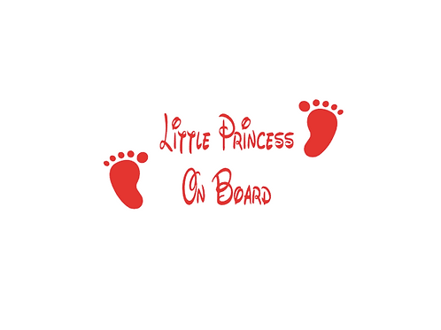 Little Princess On Board Car Sticker