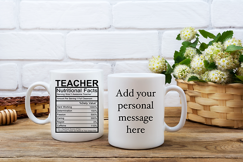 Teacher Nutritional Facts Personalised Mug