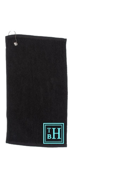 Luxury Personalised Golf Towel with Square Framed Monogram Detail