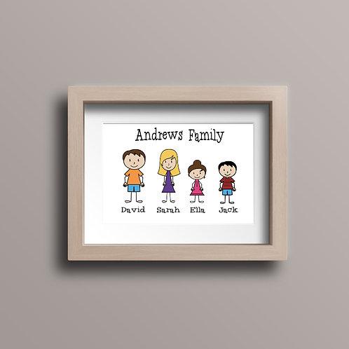 Framed Stick Family Print