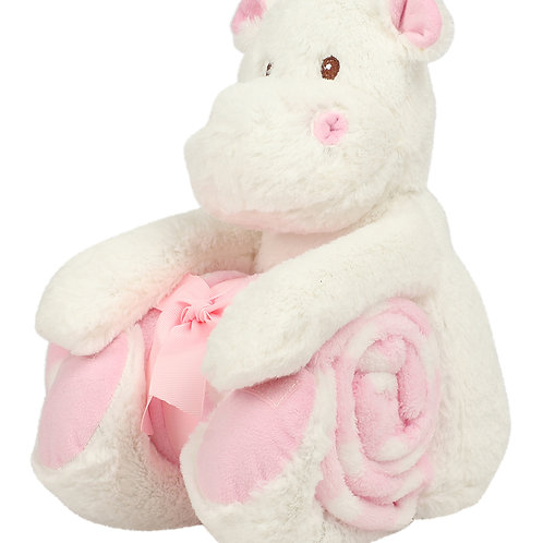Personalised Cuddly Hippo & Blanket Set