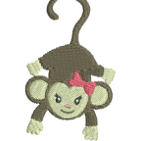 Girl Monkey A Embroidery Design