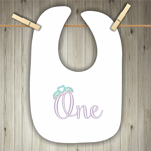 One - Tiara Embroidered Baby Bib