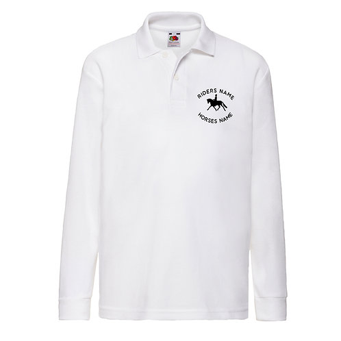 Personalised Equestrian Long Sleeved Polo Shirt