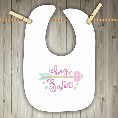 Big Sister Embroidered Baby Bib