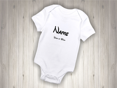 Personalised Baby Bodysuit - Name & Date of Birth