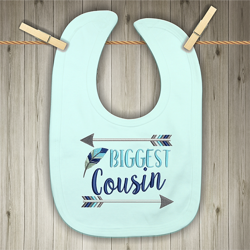 Biggest Cousin Embroidered Baby Bib