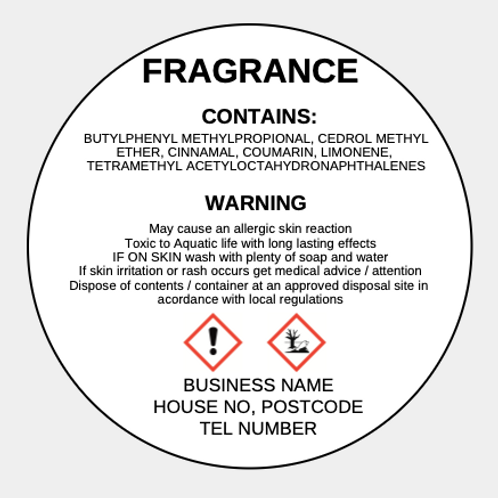 Wax Melt CLP Labels