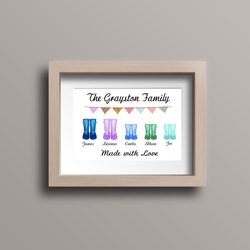 Wellington Boot Family Print