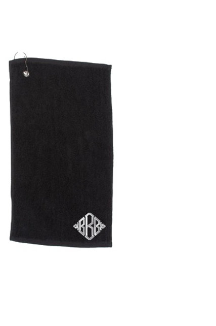 Luxury Personalised Golf Towel with Diamond Monogram Detail