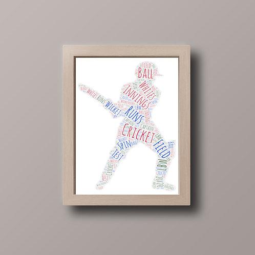 Cricketer Word Art Print