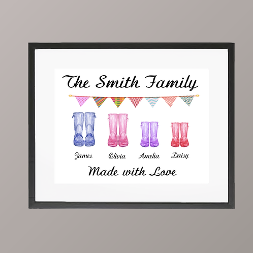 Framed Wellie Family Print