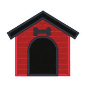Dog House Applique Embroidery Design