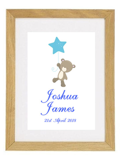 Baby Bear Personalised Framed Print