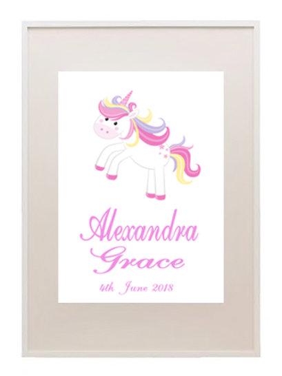 Baby Unicorn Personalised Framed Print