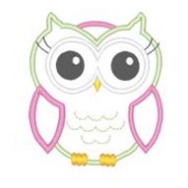 Applique Girl Owl Embroidery Design