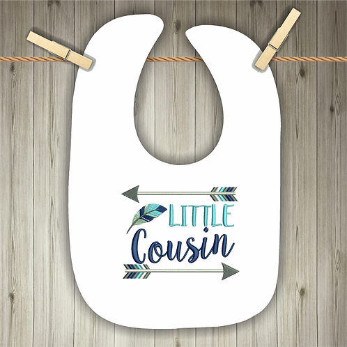 Little Cousin Embroidered Baby Bib