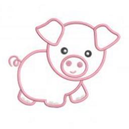 Pig Applique Embroidery Design