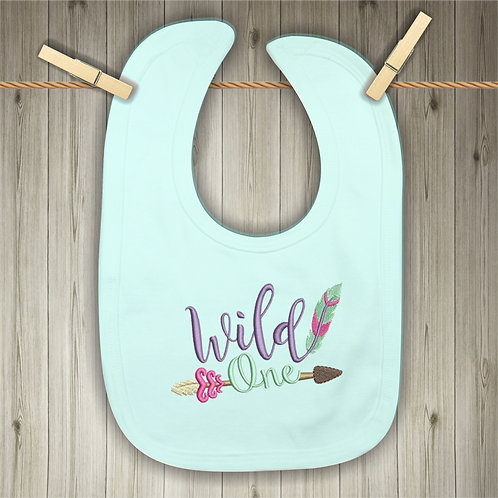 Wild One Embroidered Baby Bib