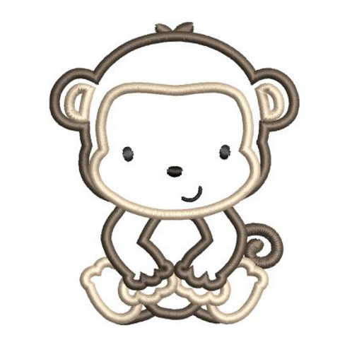 Monkey Applique B Embroidery Design