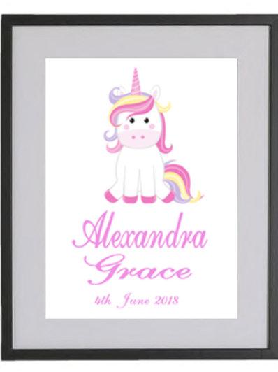 Baby Unicorn Personalised Framed Print