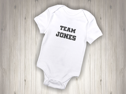 TEAM Name Personalised Baby Bodysuit
