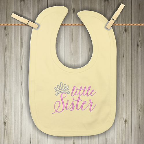 Little Sister Embroidered Baby Bib